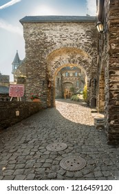 COCHEM, GERMANY, OCTOBER 2018 - Entrance courtyard of the medieval castle at Cochem, Germany