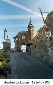 COCHEM, GERMANY, OCTOBER 2018 - Gatehouse entrance to Cochem Castle, Cochem, Germany