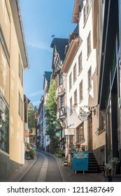 COCHEM, GERMANY, OCTOBER 2018 - Narrow street in the old town of  Cochem, Germany
