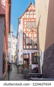 COCHEM, GERMANY, OCTOBER 2018 - Narrow alley and wine bar in the city of Cochem, Germany