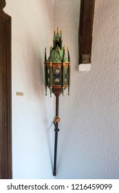 COCHEM, GERMANY, OCTOBER 2018 - Ornate oil lamp on the wall at Cochem Castle, Germany