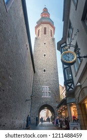 COCHEM, GERMANY, OCTOBER 2018 - Saint Martin Church tower in the old town of Cochem, Germany