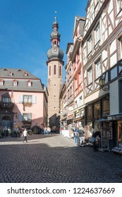 COCHEM, GERMANY, OCTOBER 2018 - Saint Martin church tower and Market Square in the city of Cochem, Germany