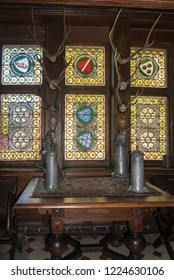 COCHEM, GERMANY, OCTOBER 2018 - Stained glass windows in Reichsburg Castle, Cochem, Germany