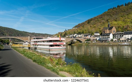 COCHEM, GERMANY, OCTOBER 2018 - A tourist boat on the Moselle river at Cochem, Germany