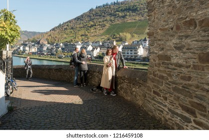 COCHEM, GERMANY, OCTOBER 2018 - Tourists enjoying the view of the River Moselle at Cochem, Germany