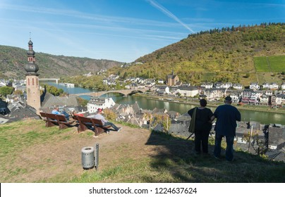 COCHEM, GERMANY, OCTOBER 2018 - Toursts enjoying the view across the Moselle River and valley at Cochem, Germany