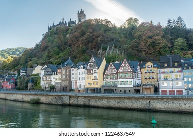 COCHEM, GERMANY, OCTOBER 2018 - view of the city of Cochem and castle, Germany from the Moselle River