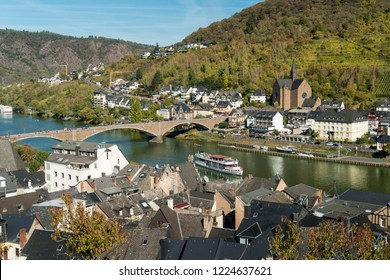 COCHEM, GERMANY, OCTOBER 2018 - View looking down from a hill of the Moselle river at Cochem, Germany