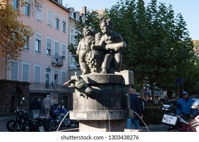 Cochem, Germany - October 21 2018:  Statue in center of Cochem city