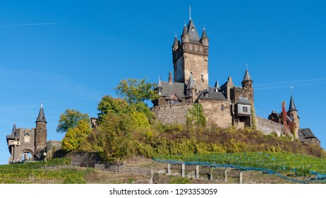 COCHEM, GERMANY - OCTOBER 5, 2018: Panoramic image of the old Cochem castle close to the Moselle river on October 5, 2018 in Germany, Europe