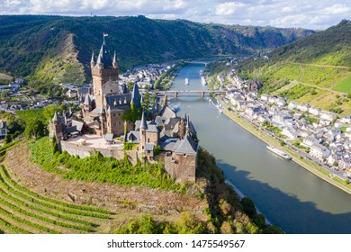 Cochem Imperial Castle (Reichsburg Cochem) reconstructed in the Gothic Revival style protects historic Cochem town on left bank of Moselle river and Cond, Cochem-Zell, Rhineland-Palatinate, Germany
