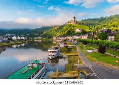 Cochem and Mosel River in Germany around sunrise