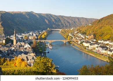 Cochem on the Moselle River (Mosel), Germany, on a sunny autumn day.