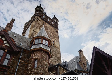Cochem, Rhineland-Palatinate / Germany - June 6, 2018: View of the Reichsburg Cochem castle and blue sky