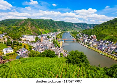 Cochem town and vineyards aerial panoramic view in Moselle valley, Germany