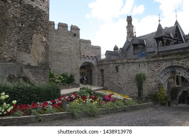 Cochem/Germany - August 10 2018: The Cochem castle outside and inside view.