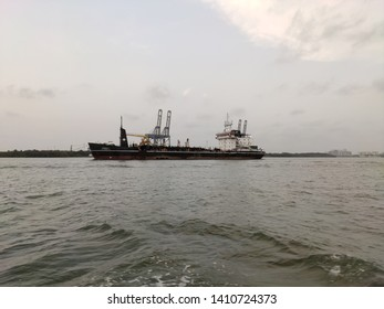 Cochin backwater, Kerala, India - May 28, 2019: A journey through the centre of Cochin