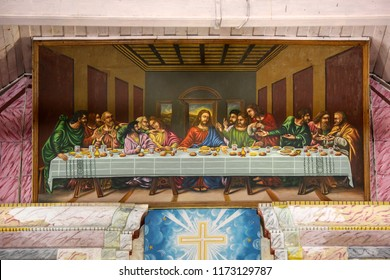 Cochin December,23,2008:  close up replica of famous Jesus Christ painting   called last supper located near ceiling at Santa Cruz cathedral basilica church,Fort Cochin, Kerala. India,Asia