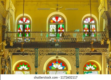 Cochin December,23,2008: Santa Cruz cathedral basilica church interior with  window arches having stained glass and cast iron decorative arches,fort Cochin, Kerala,India,Asia