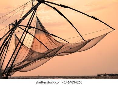 Cochin. India. 04/04/2019. The characteristic fishing nets of Cochin.