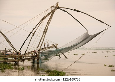 Cochin. India. 11.04.06. Chinese fishing nets at dawn in the Fort Kochi area of Cochin in the Kerala region of southern India.