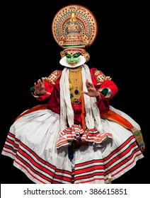 COCHIN, INDIA - FEBRUARY 16, 2010: Actor performing traditional Indian dance-drama Kathakali in Fort Cochin, South India. Kathakali - the classical dance-drama of Kerala based on Indian mythology.
