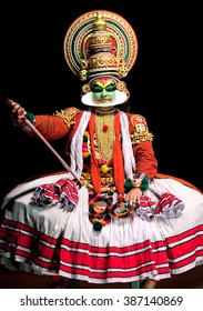 COCHIN, INDIA - FEBRUARY 17, 2010: Actor performing traditional Indian dance-drama Kathakali in in Fort Cochin, South India. Kathakali - the classical dance of Kerala based on Indian mythology.