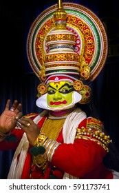 COCHIN, INDIA - JANUARY 09, 2017: Kathakali dancer in Periyar of Kerala's state in India.