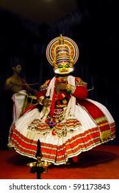 COCHIN, INDIA - JANUARY 09, 2017: Kathakali dancer in Periyar of Kerala's state in India.
