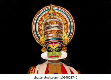 Cochin, India - January 23, 2016: Kathakali performance in Cochin temple festival. Indian Kathakali dancer, Fort Kochi. Kathakali is one of the oldest classical dance forms of Kerala