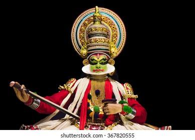 Cochin, India - January 23, 2016: Kathakali performance in Cochin Cultural Centre. Indian Kathakali dancer, Kerala, Fort Kochi.