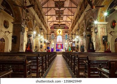 COCHIN, INDIA - MARCH 13, 2012: Santa Cruz Basilica or Roman Catholic Diocese of Cochin church located in Fort Kochi in Cochin, India