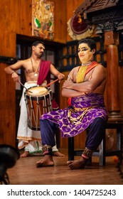 COCHIN, INDIA - MARCH 14, 2012: Kathakali dance show at Cochin cultural centre in India. Kathakali is one of major forms of classical Indian dance.