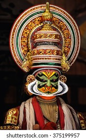 COCHIN, INDIA - NOVEMBER 23, 2015: Portrait of the unidentified kathakali performer during the traditional kathakali dance of Kerala's state in India.