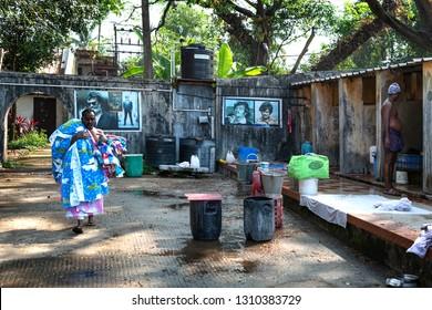 Cochin, kerala, India : December 25, 2018 : Men are working in a laundry in Cochin Kerala India