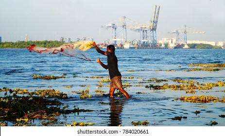 Cochin, Kerala/ India - December 6, 2017: Indian fisherman catch fish by throwing net to the river. He surrounded by sea grass. Chinese fishing net in Kochi, Kerala, India.