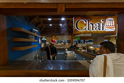 COCHIN, KERALA, INDIA - FEBRUARY 09, 2018: Tea shop in the first floor of New Cochin International Airport Terminal 3, Cochin / Kochi, Kerala, India.