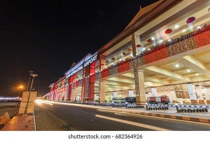 COCHIN, KERALA, INDIA - MARCH 12, 2017: Night view of New Cochin International Airport Terminal 3, Cochin / Kochi, Kerala, India.