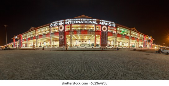 COCHIN, KERALA, INDIA - MARCH 12, 2017: Panoramic view of New Cochin International Airport Terminal 3, Cochin / Kochi, Kerala, India.