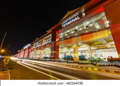 COCHIN, KERALA, INDIA - MARCH 12, 2017: Night view of New Cochin International Airport Terminal 3, Cochin / Kochi, Kerala, India.