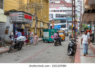 COCHIN, KERALA, INDIA - NOVEMBER 1, 2018: Street photography, with a scene of the bustling. vibrant and colourful streets in the town of Cochin (Kochi), in the southern state of Kerala.