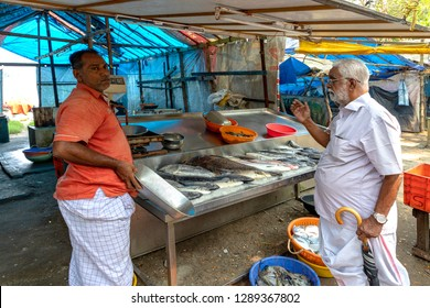 COCHIN, KERALA, INDIA - OCTOBER 31, 2018: Fish for sale in the market at Cochin (Kochi), in a renowned and popular area near the Chinese fishing nets, on the Kerala coast alongside the Arabian Sea.