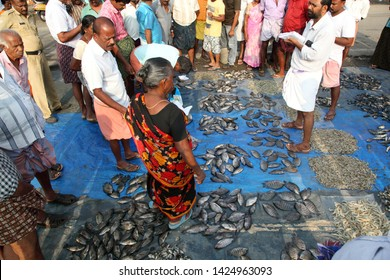 Cochin,India-June 1 2019: Call auction for fish from Cochin lake
