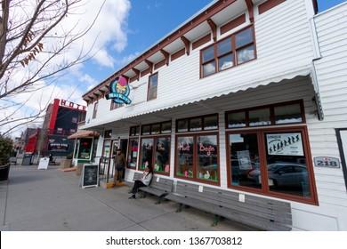 Cochrane, Alberta / Canada - 3. April 2019: Historic downtown of Cochrane, Travel Alberta, Tourism, North America, Near from Calgary