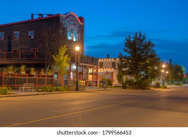 Cochrane, Alberta, Canada – August 18, 2020:  Early morning street view of the town's main street