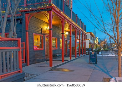 Cochrane, Alberta, Canada - November 22, 2019:  exterior view of the historic Rockyview Hotel in downtown as seen during the Christmas season