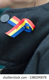 A cockade with Romanian flag weared at the Romania's National Day Parade