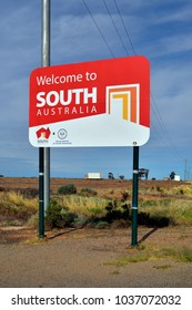 COCKBURN, AUSTRALIA - NOVEMBER 11: Welcome board on border between South Australia and New South Wales on Barrier highway, on November 11, 2017 in Cockburn, Australia