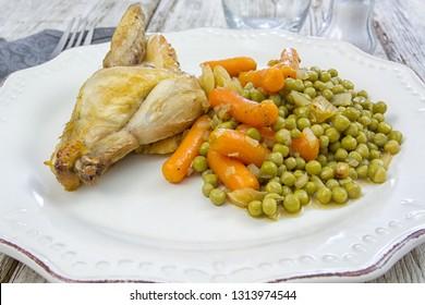 cockerel and peas